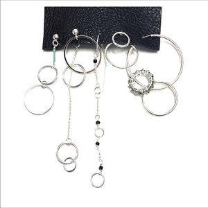 Free People Silver Stream Asymmetrical Earrings